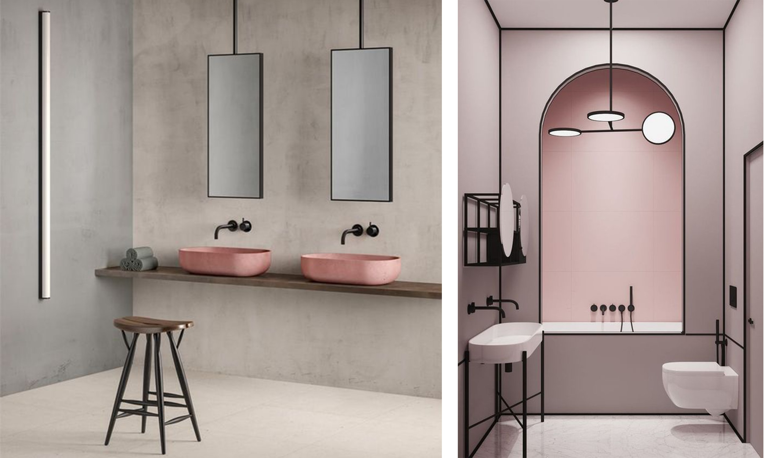 chic blush and grey bathrooms