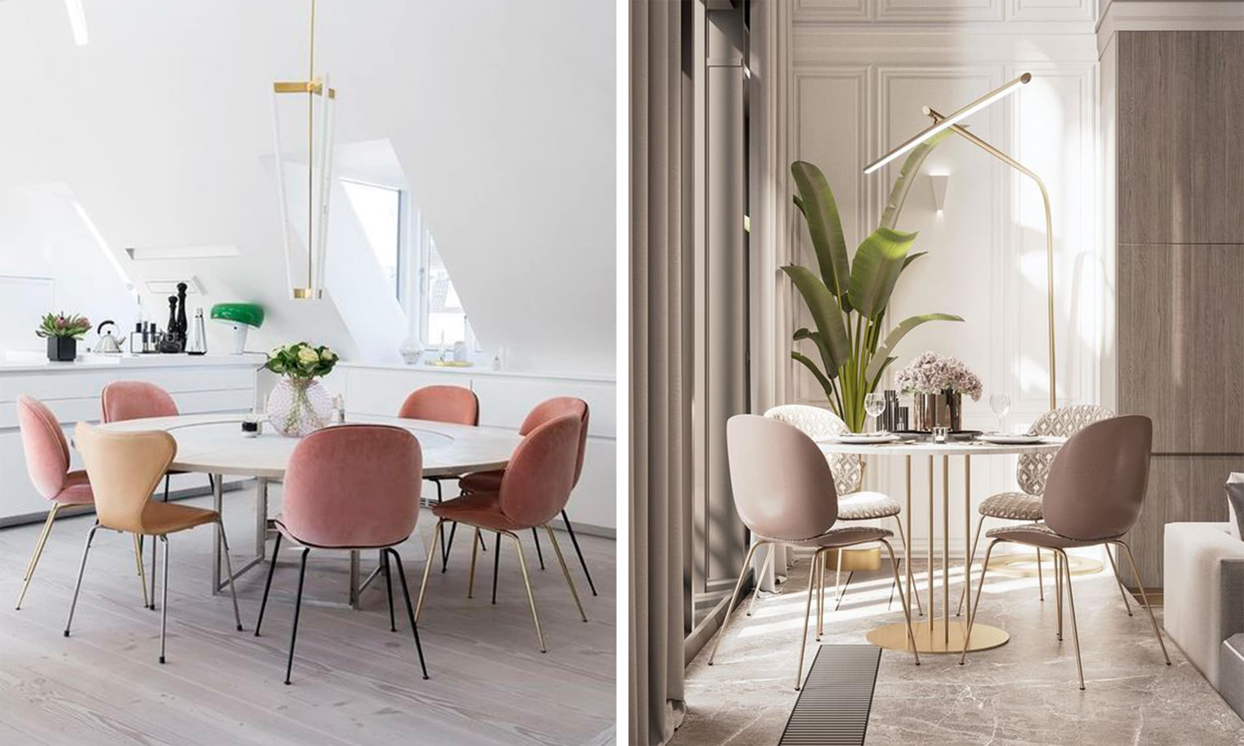 blush interior accents in the dining room