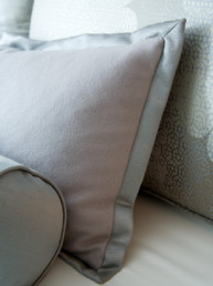 custom bespoke pillows for a lavender and grey neutral bedroom