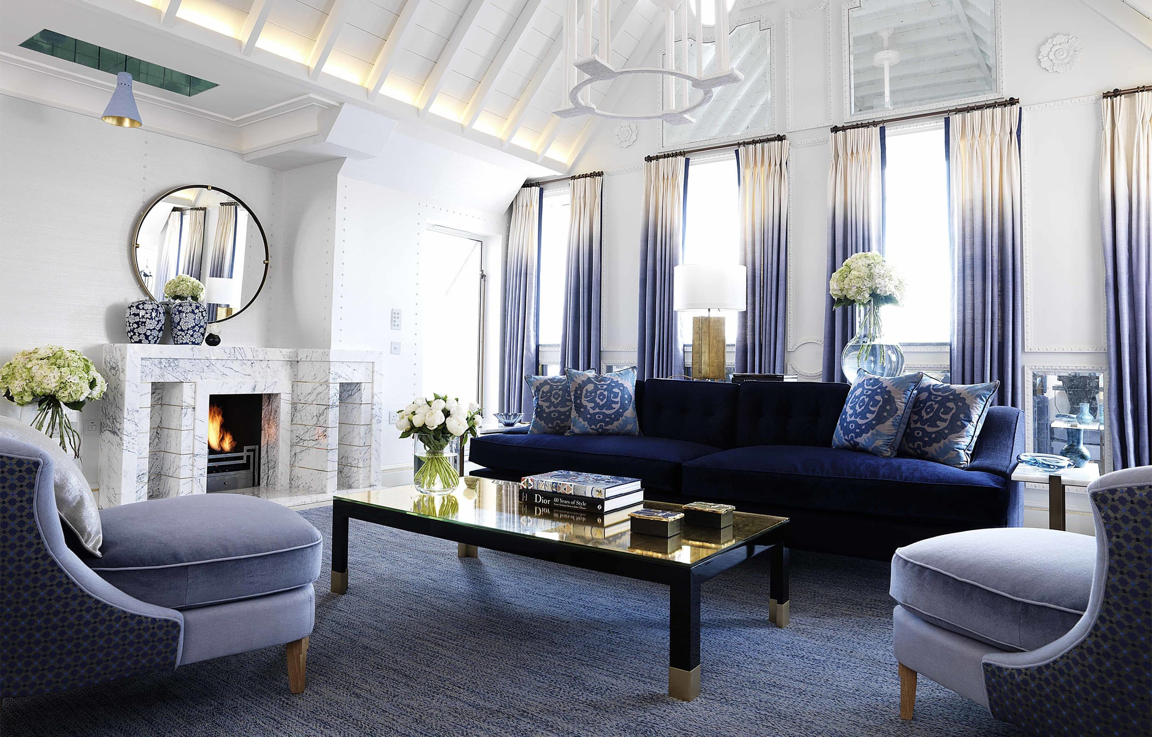 winter hygge living room blue chic with gold accents and fresh flowers
