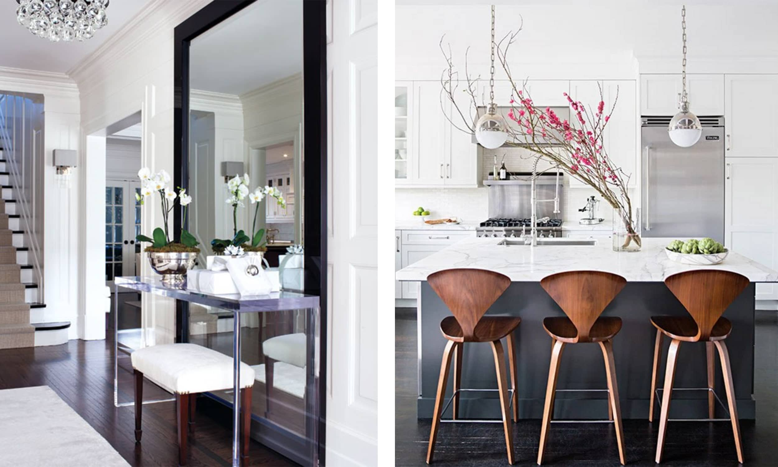 hygge foyer and kitchen with fresh flowers
