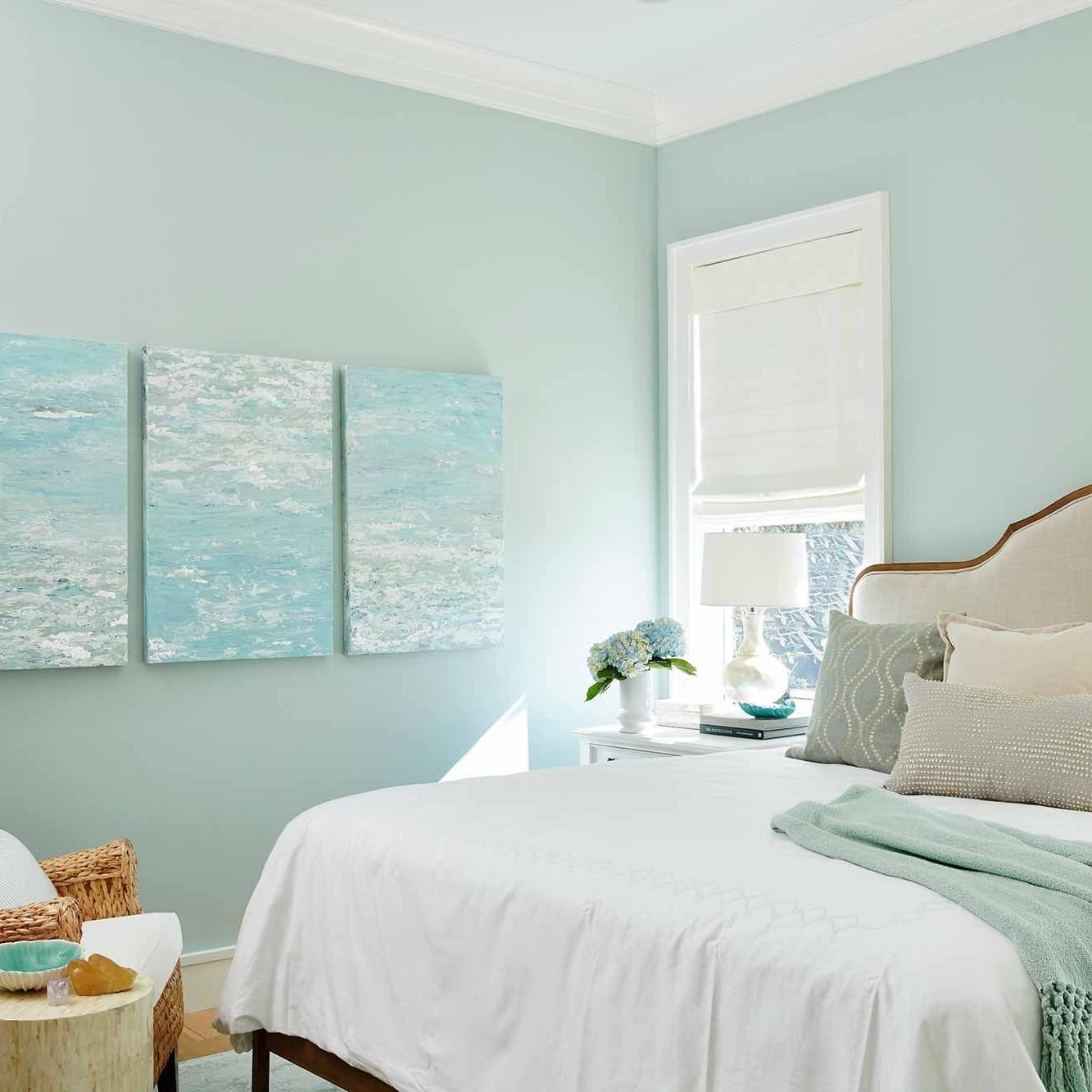Coastal bedroom in Watersound beach interior design project