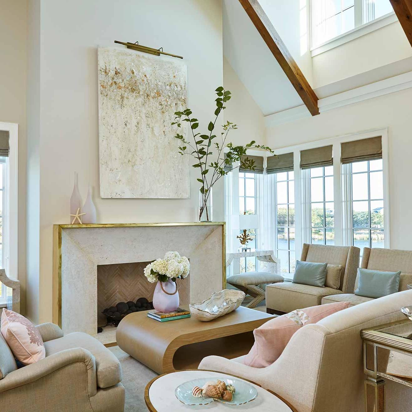 Watersound beach open concept living room interior design by Darci Hether New York
