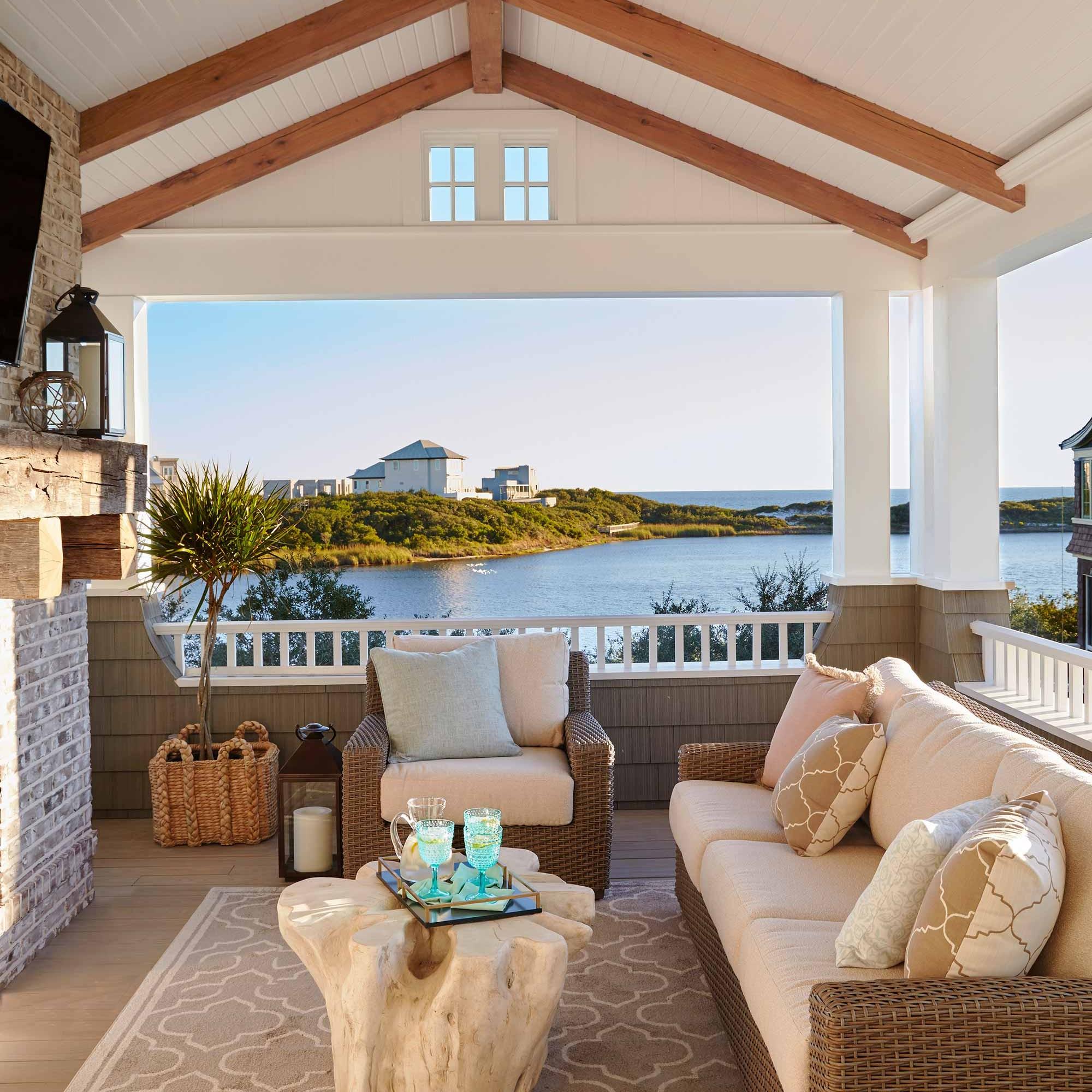 Watersound beach house patio interior design by Darci Hether New York