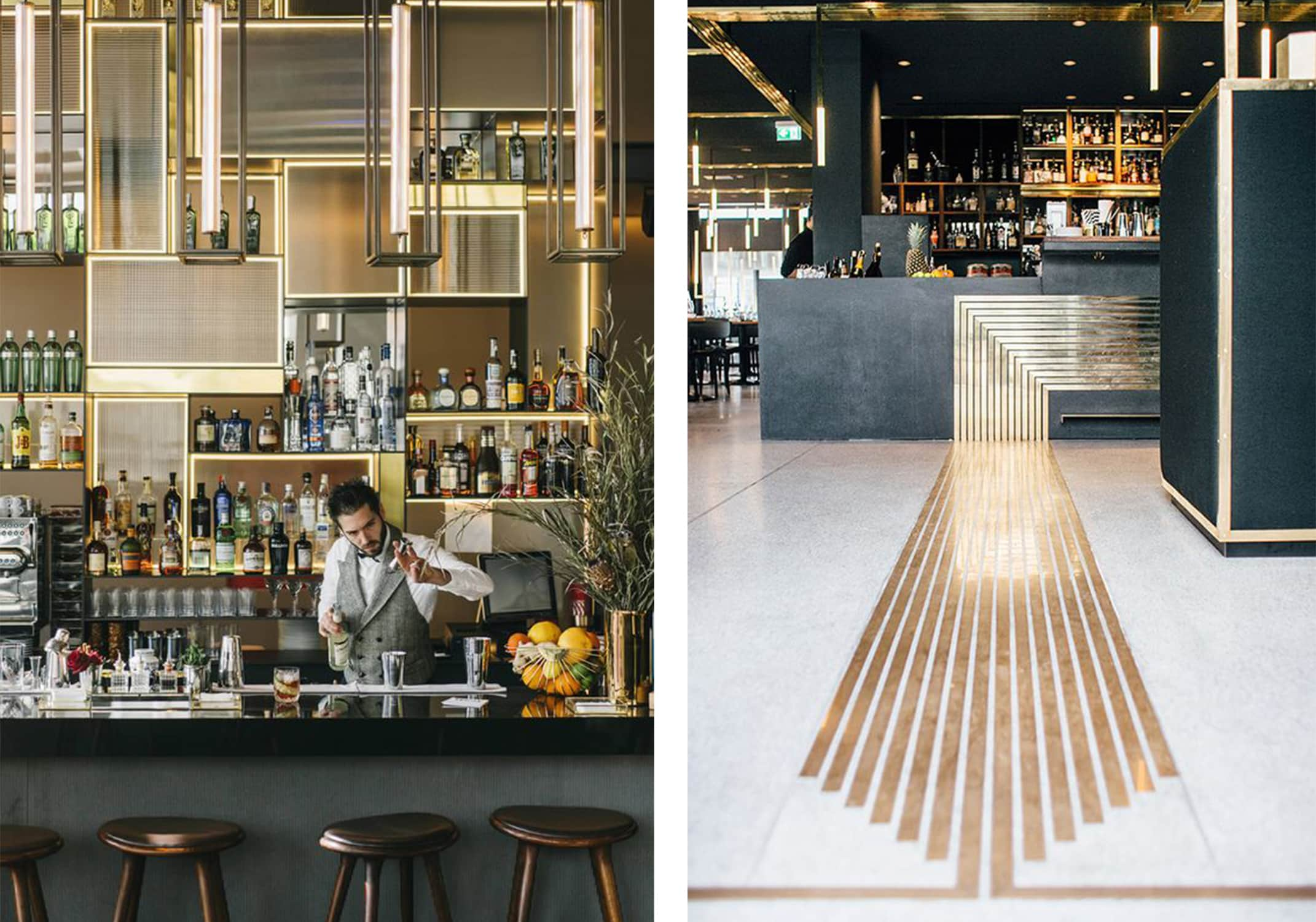 bars in brass and grey with stunning details - darci hether new york