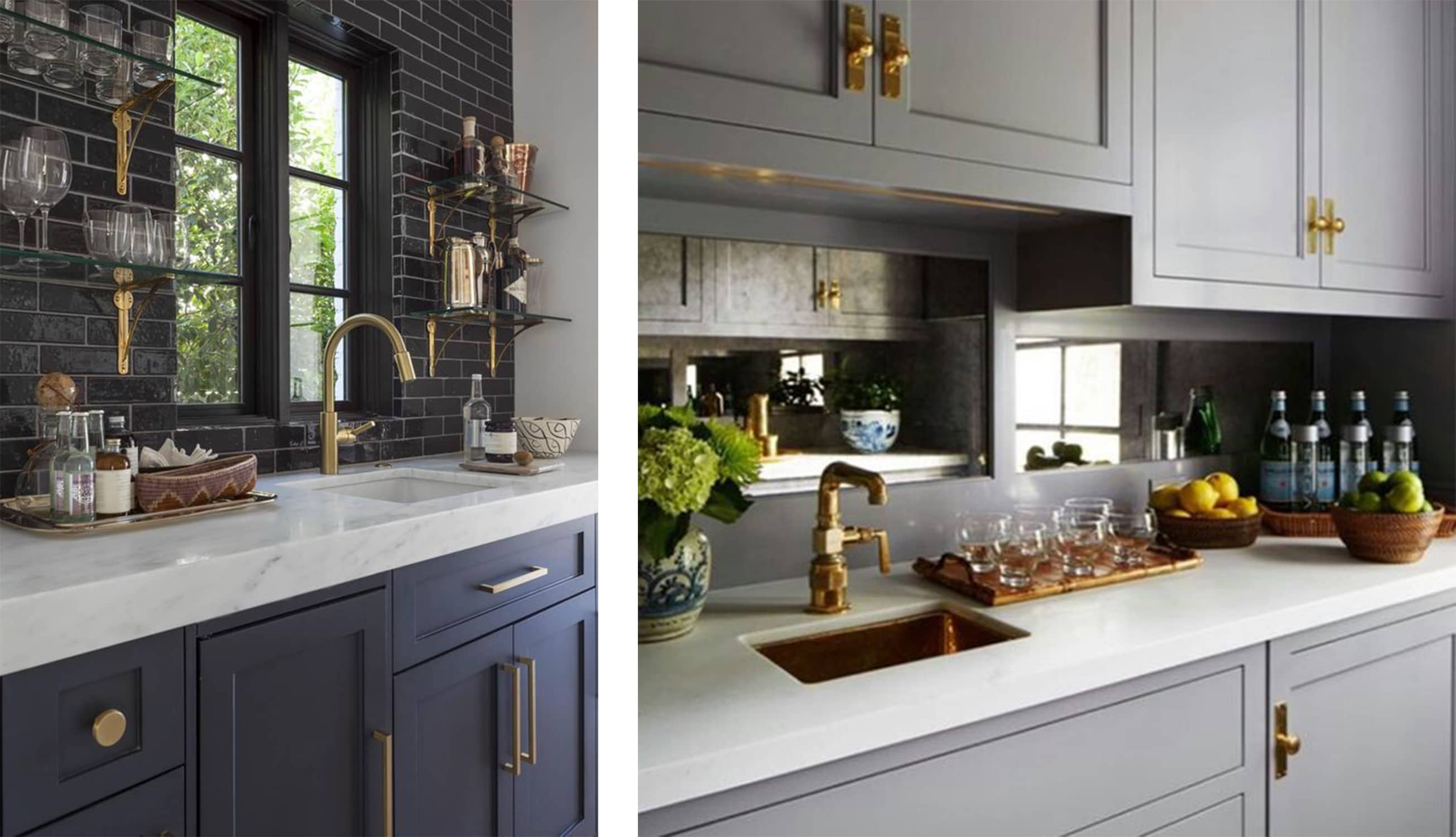 dark grey and brass wet bars - darci hether new york