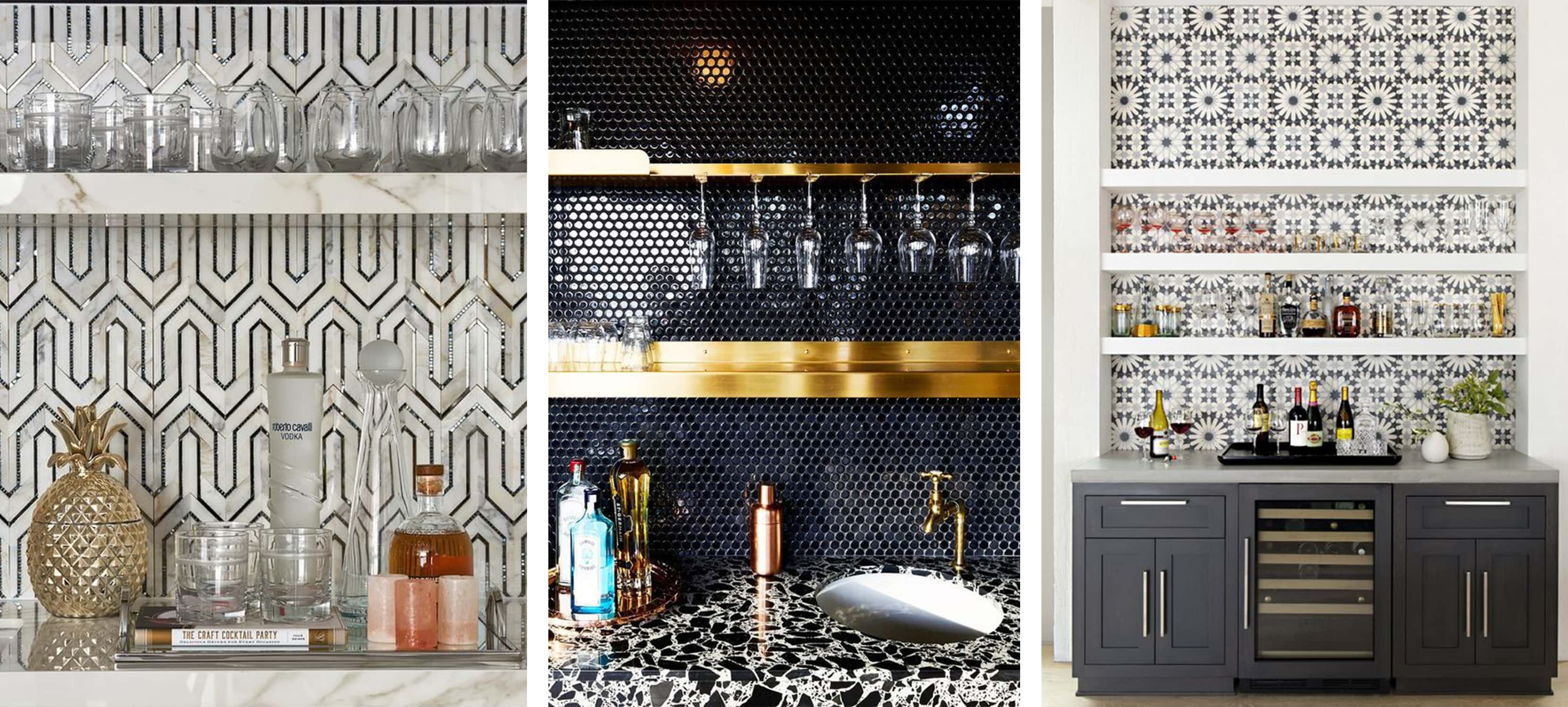 statement tile backsplash for a home bar