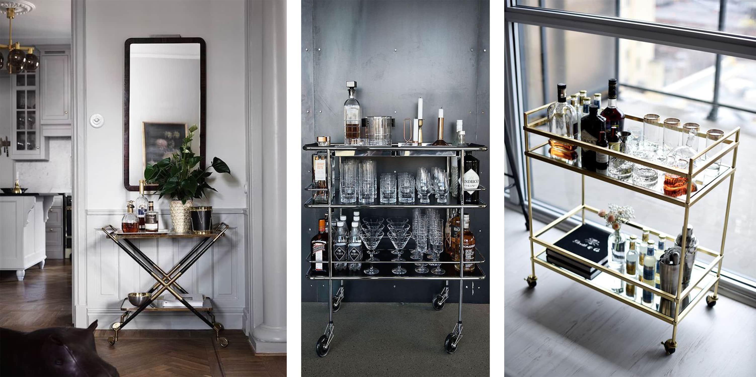 bar cart decor, accessories, & styling