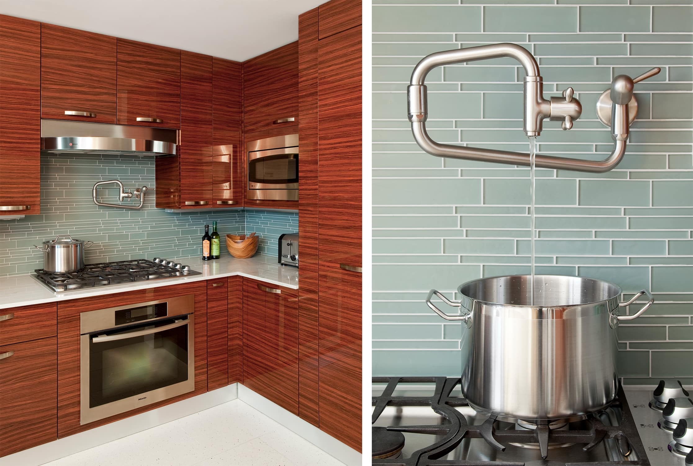 upper west side wood and glass tile kitchen with pot filler - darci hether new york