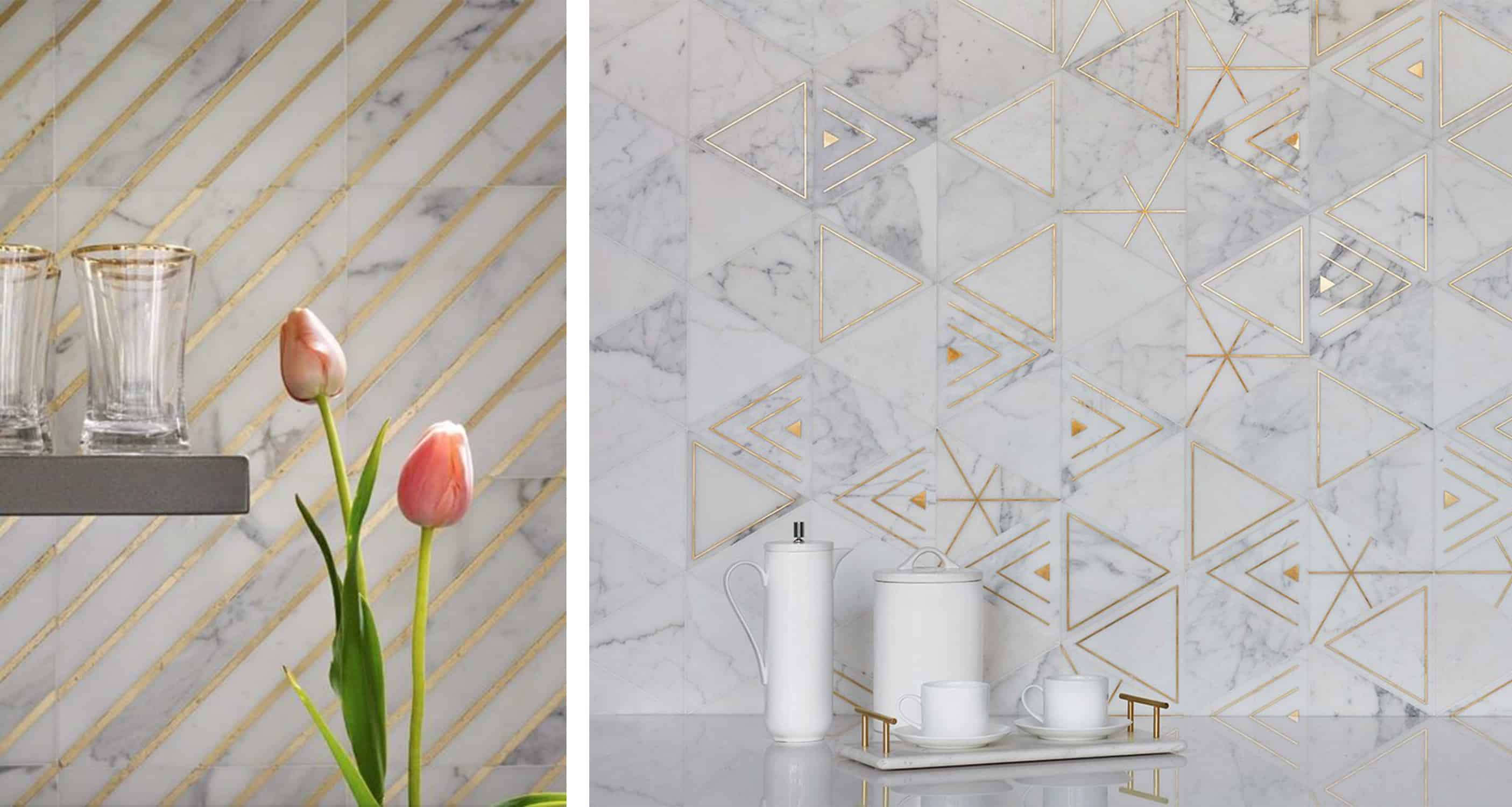 akdo white marble tile with metallic inlay patterns