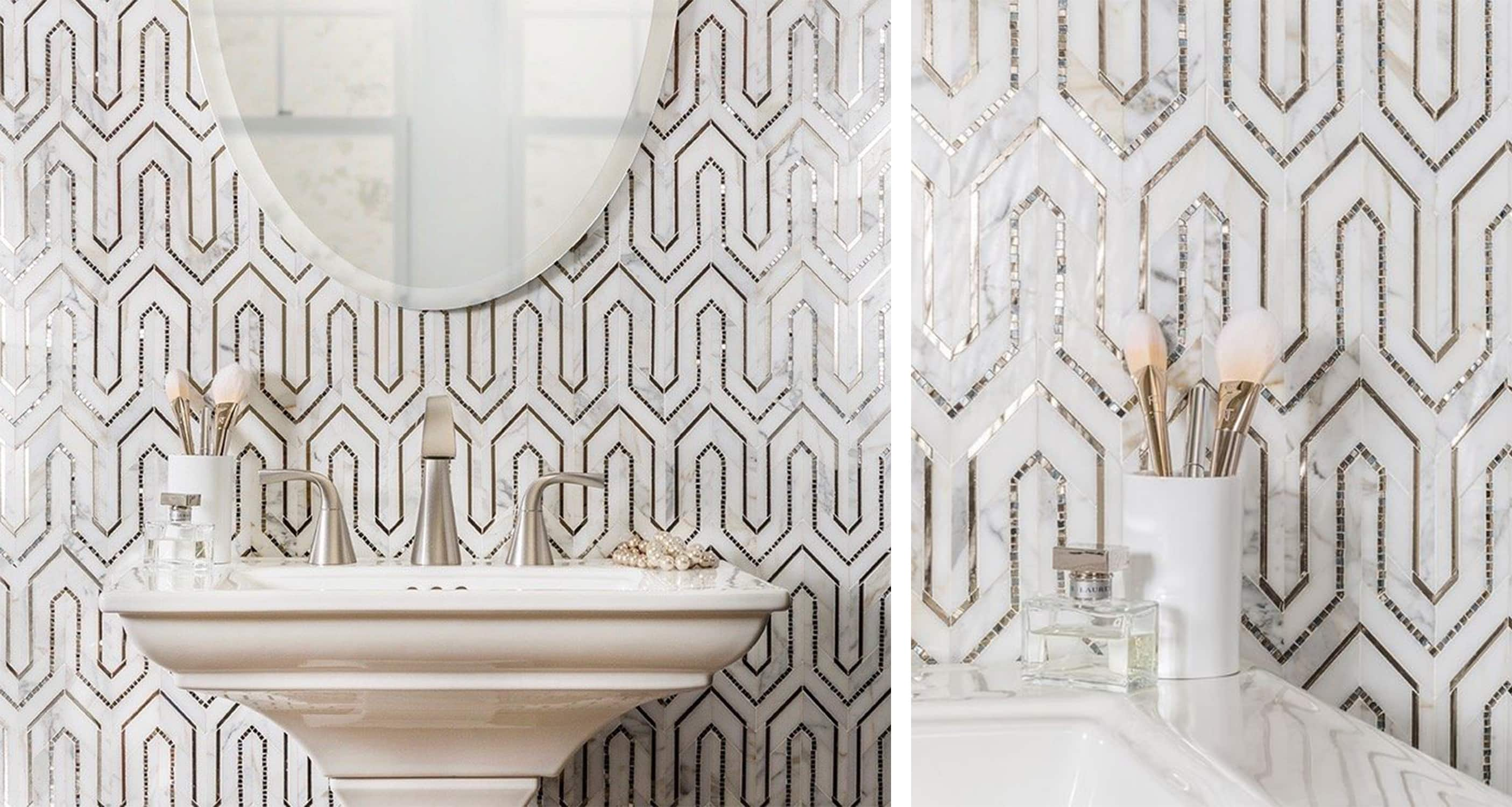 akdo mosaic tile with a metallic inlay - darci hether new york - tile trends