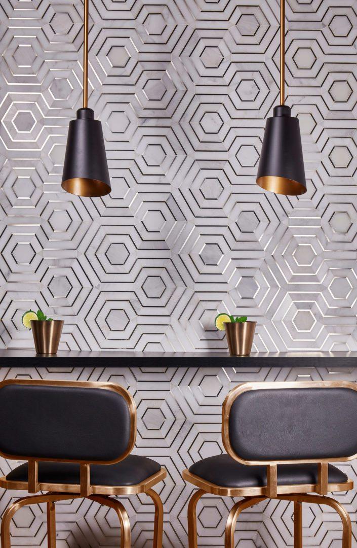 akdo tile wall - tile trends 2018 - white metallic inlay tile - darci hether new york