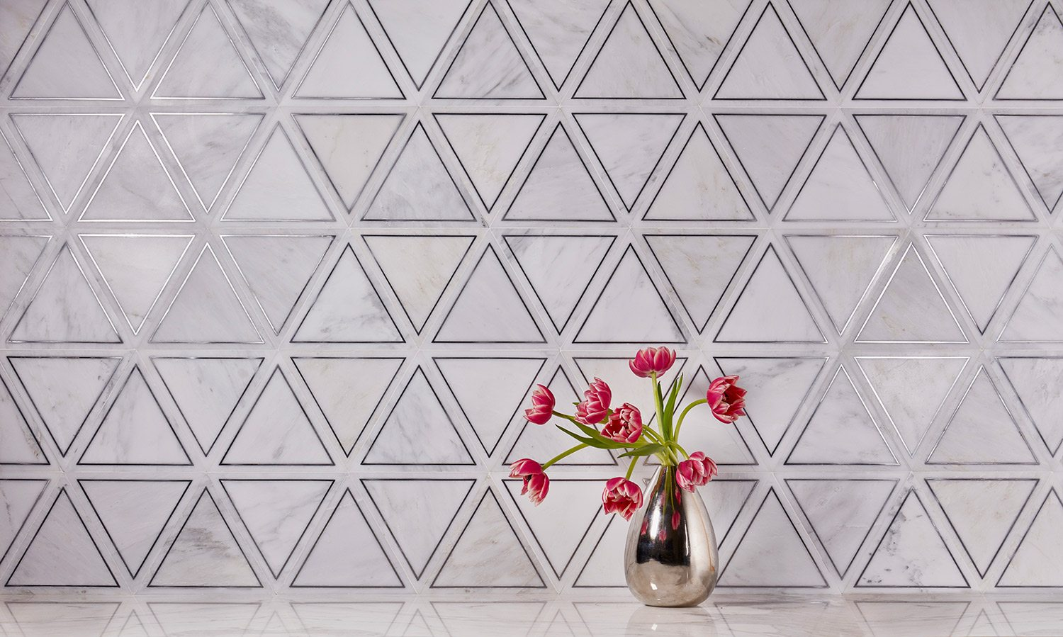 akdo metallic inlay white marble tile with silver triangles