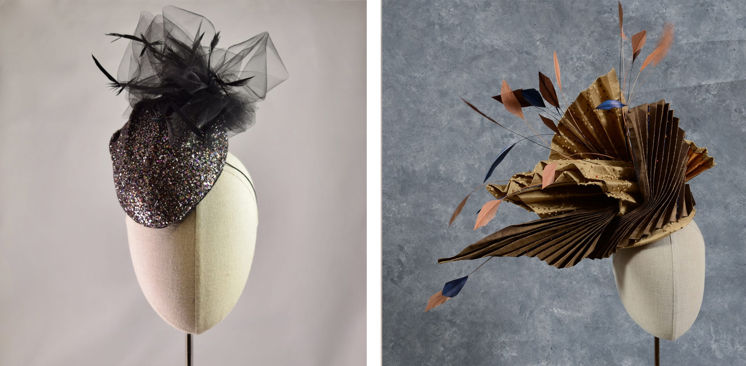 glitter fascinator and structural silk pleated hat - sally caswell millinery