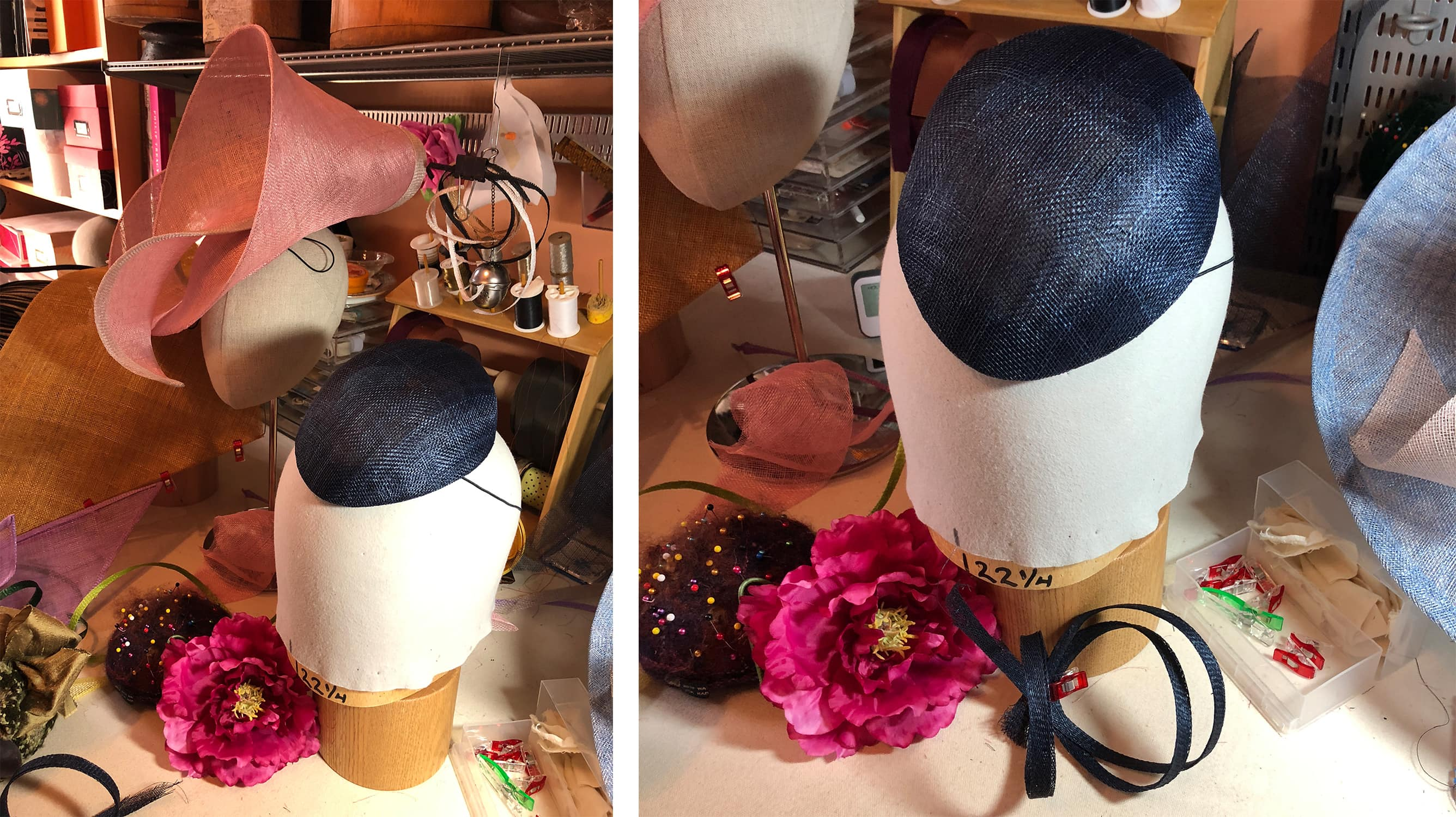 my hat for the central park conservancy hat luncheon in progress at sally caswell's studio! - sally caswell millinery - darci hether new york