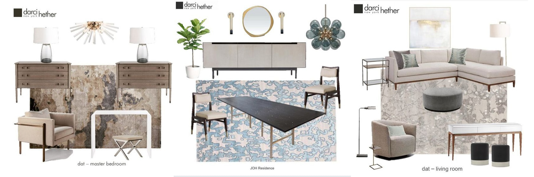 mood boards living room dining room - darci hether new york - patterned area rugs