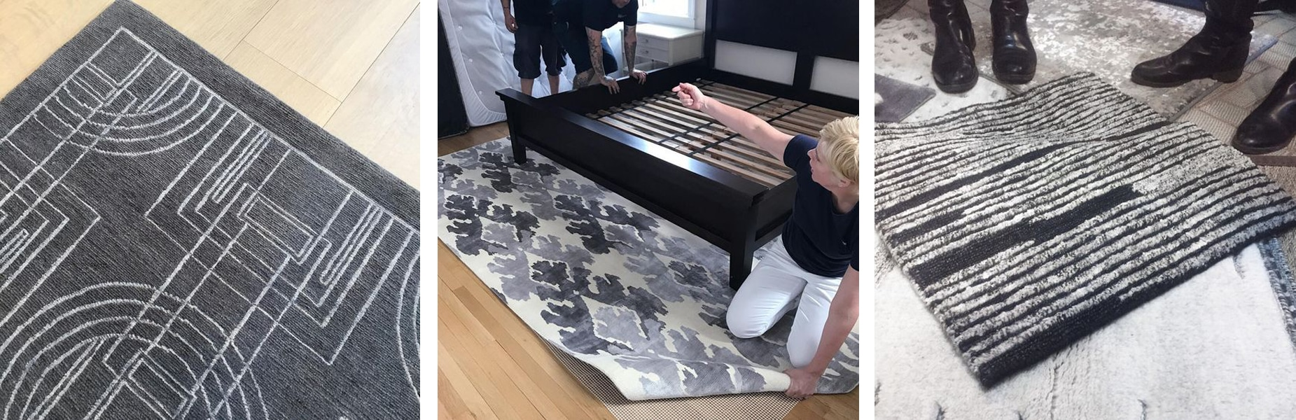 process shots - installing patterned area rugs - darci hether new york