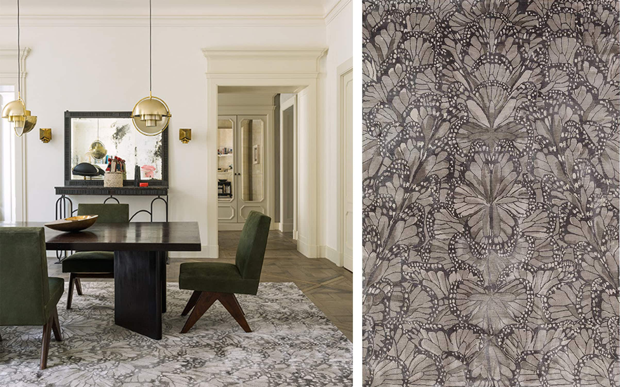 the rug company's stunning monarch smoke rug is a patterned area rug that can really complete a room - darci hether new york