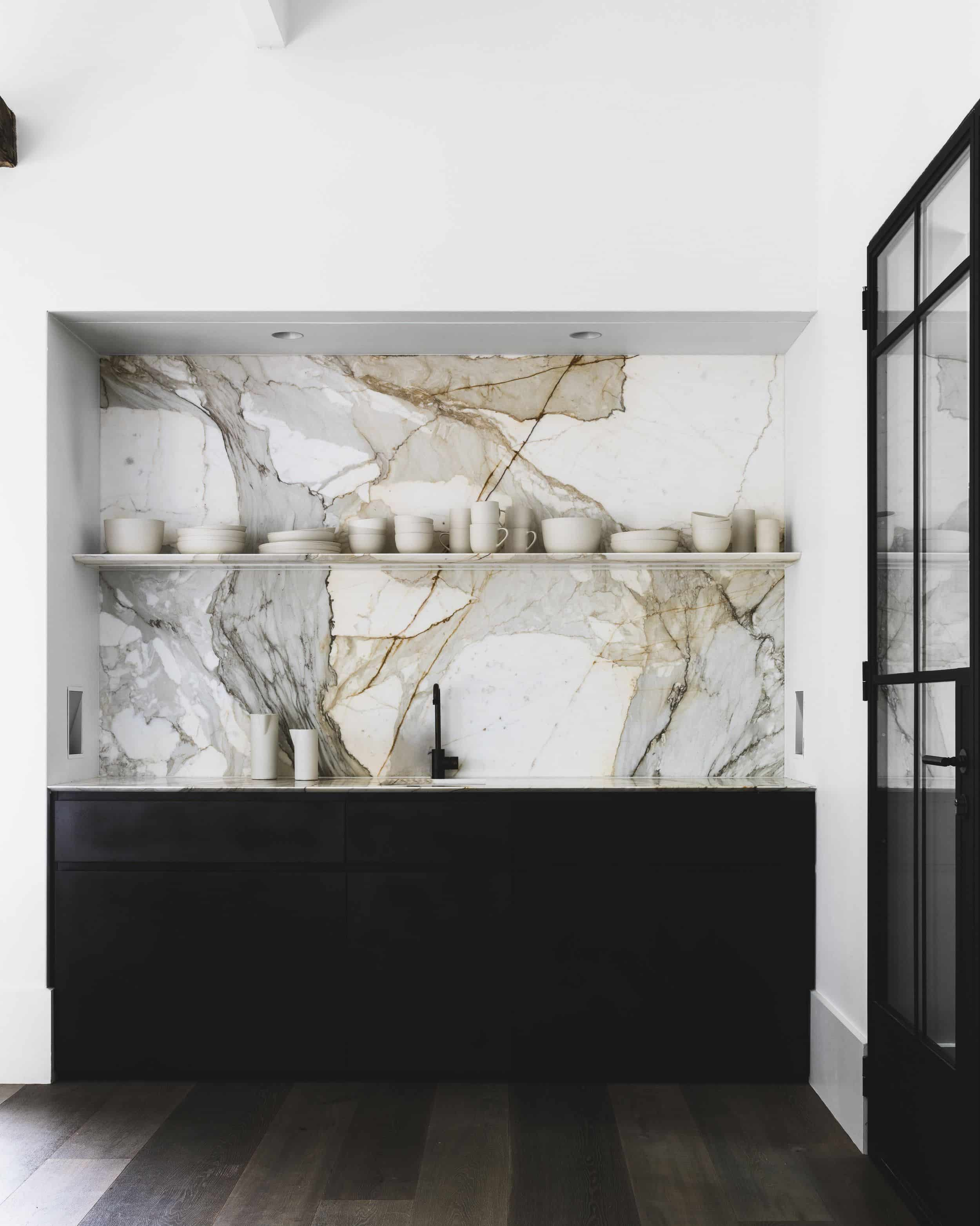 stunning marble backsplash by Handelsmann and Khaw