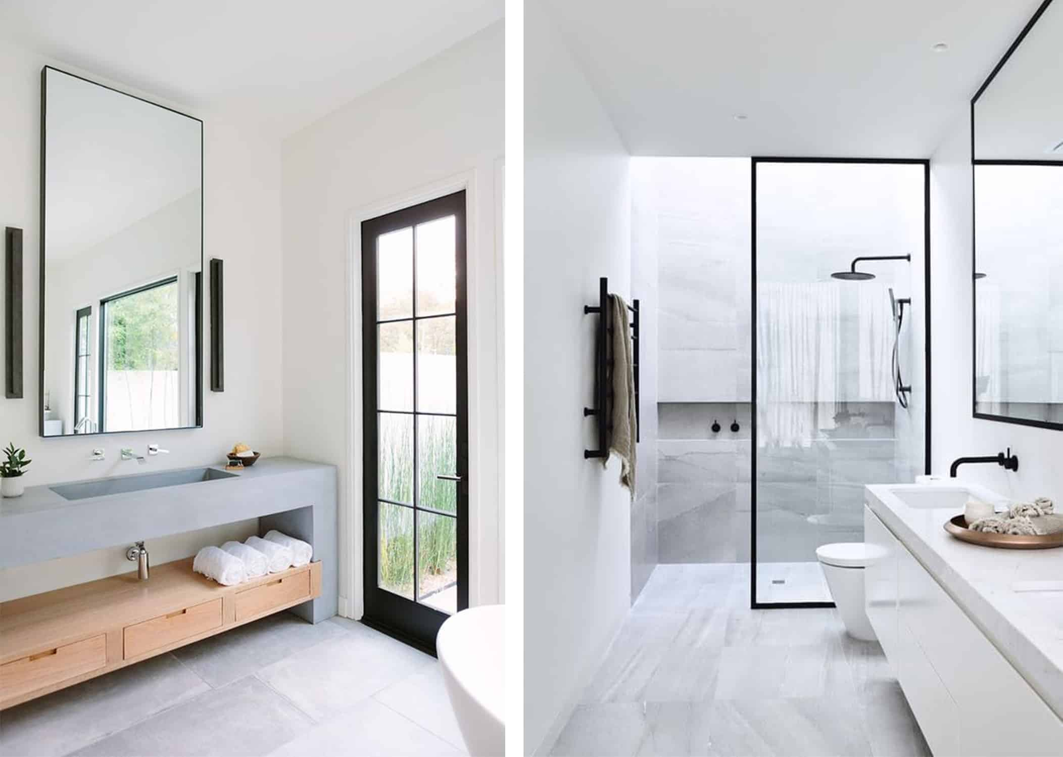 hamptons black and white bathrooms