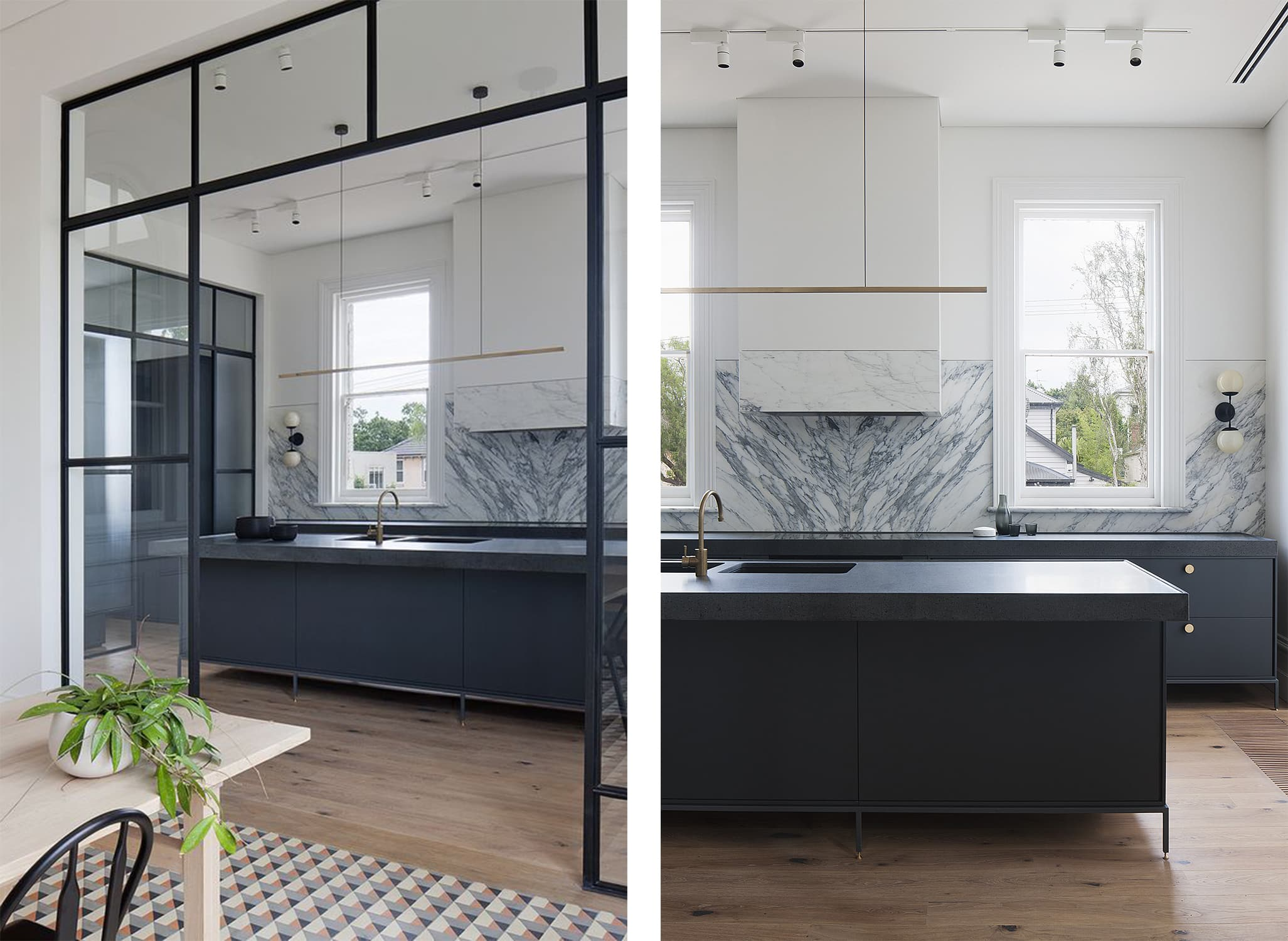 airy kitchen by hecker guthrie - grey marble - glass and steel