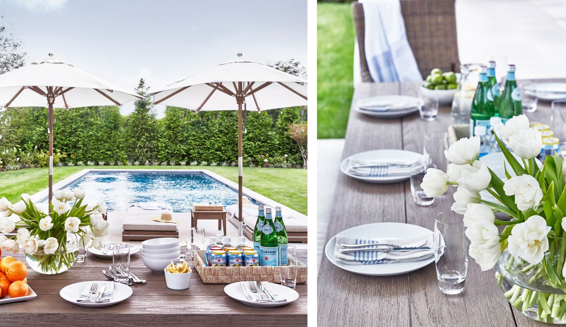 summer soiree in the hamptons table setting by the pool