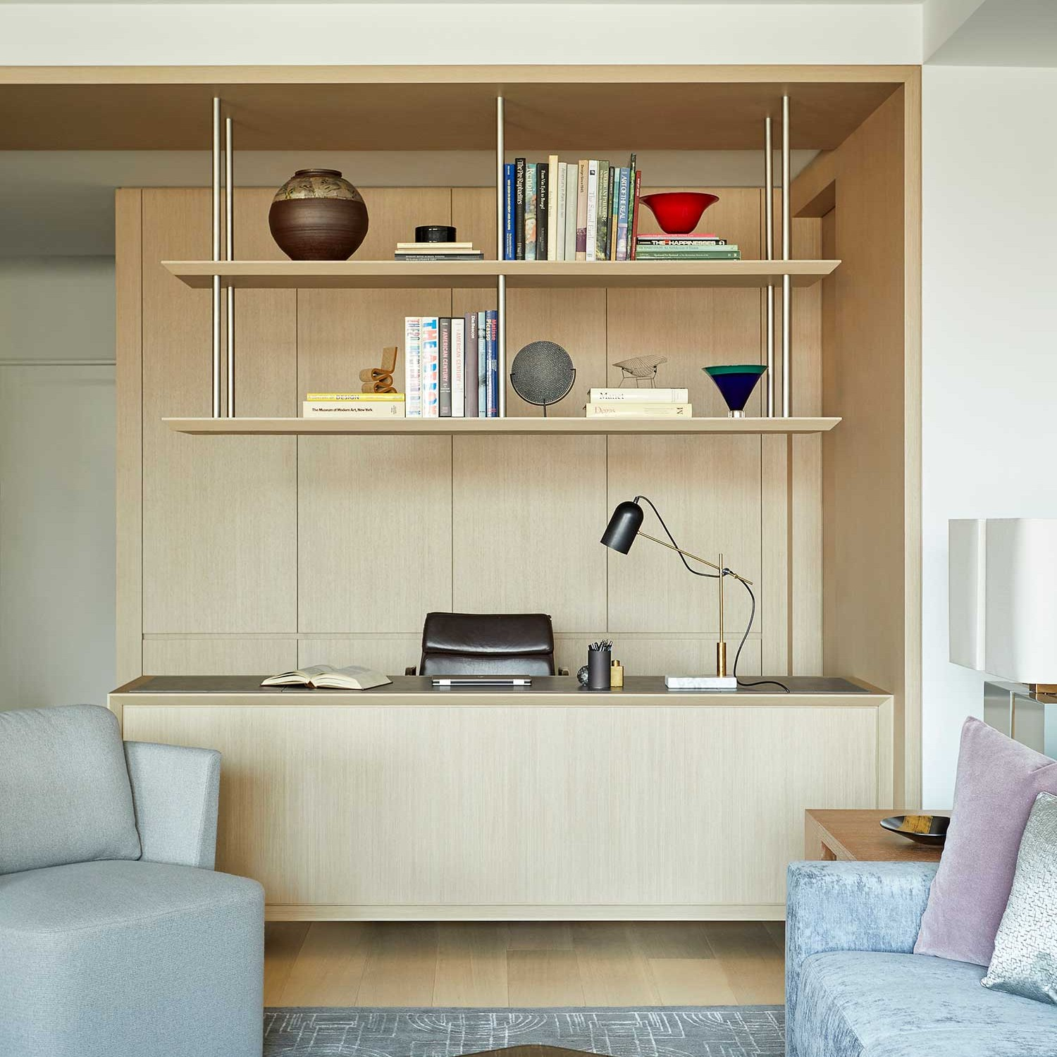 custom built-in desk with suspended open shelving