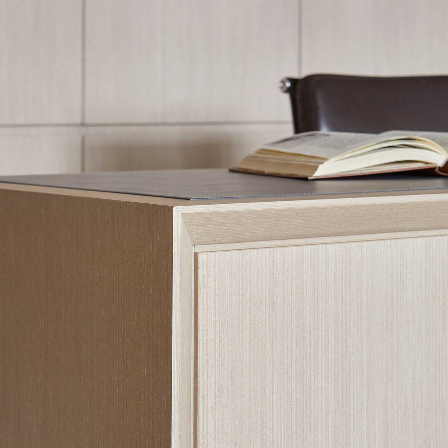 detail of edged design of custom built-in desk