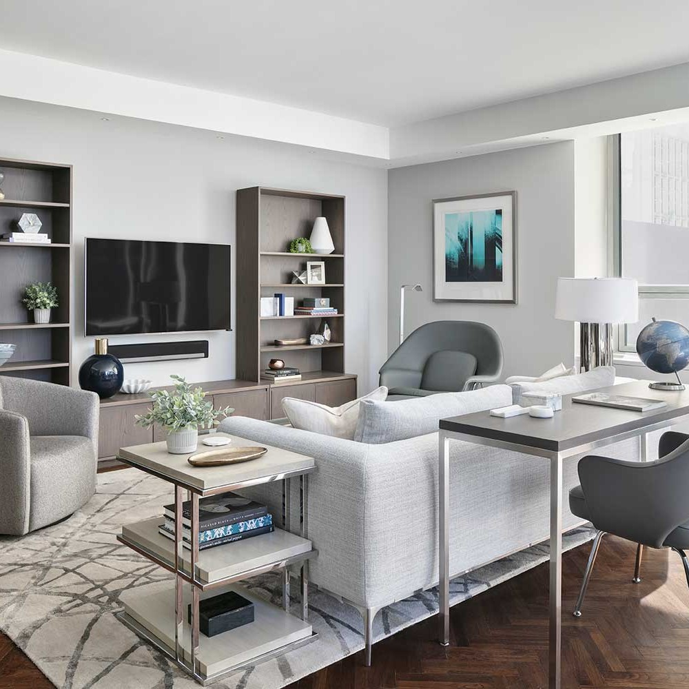 contemporary living room in shades of grey