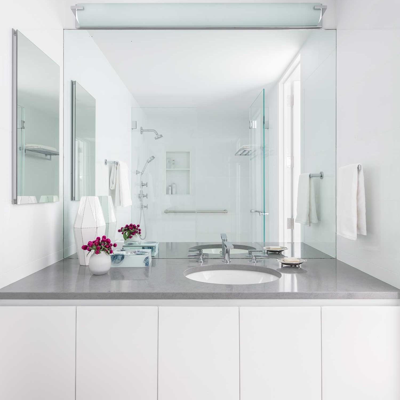 all white contemporary bathroom