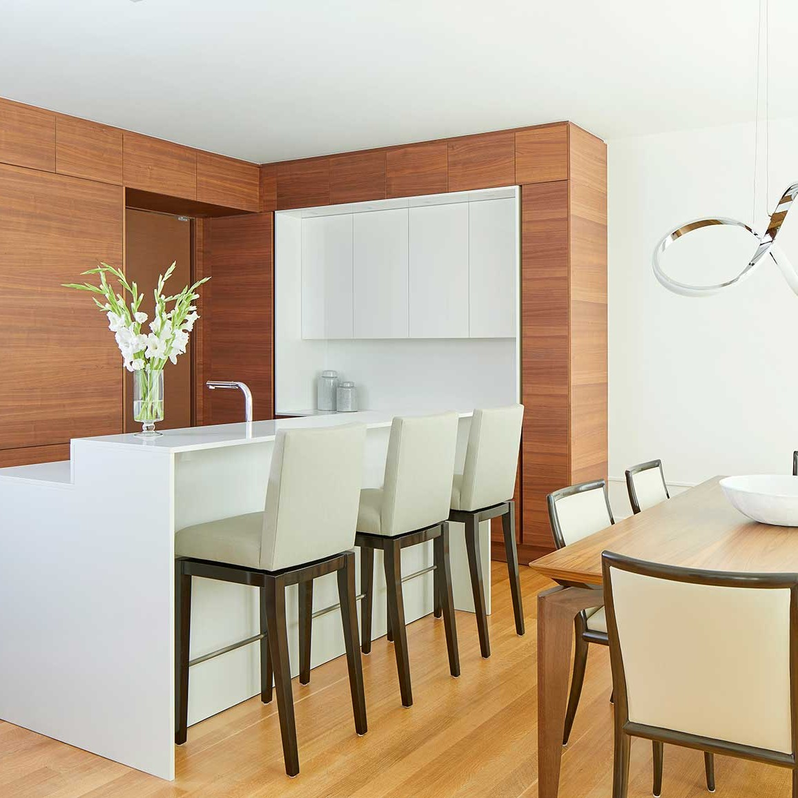 wood and high gloss white contemporary kitchen