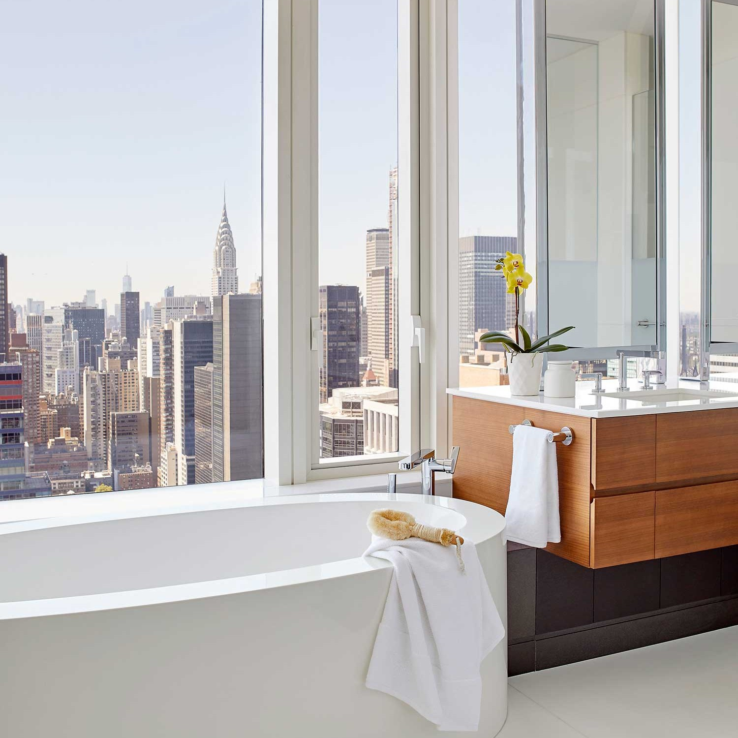 contemporary master bathroom with a view