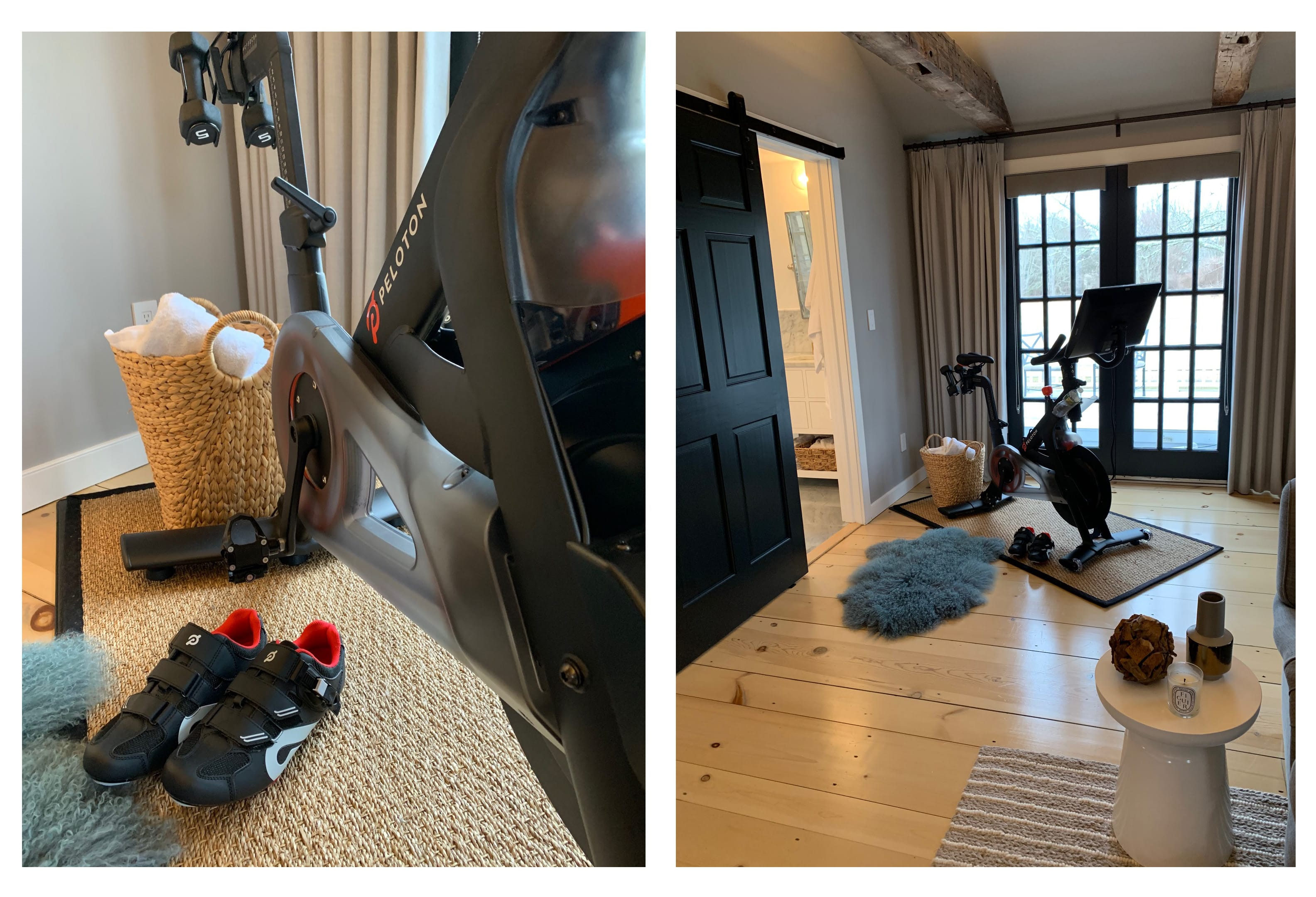 details of client's at home gym featuring the peloton bicycle.