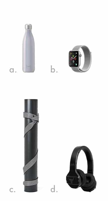 swell water bottle (top left), lulu lemon yoga mat (bottom left), apple watch (top right), under armour headphones (bottom right)