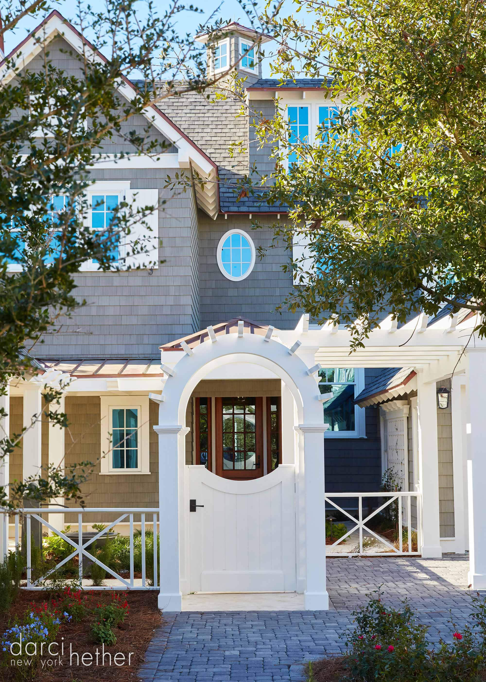 exterior of new home beach house at watersound 30A florida. design by darci hether new york for empty nester clients.