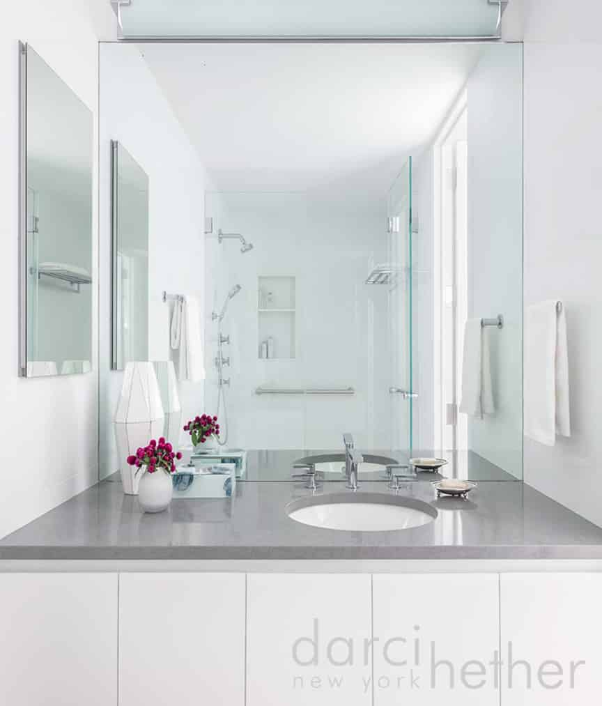 contemporary bathroom design by darci hether located on the upper east side in new york city.