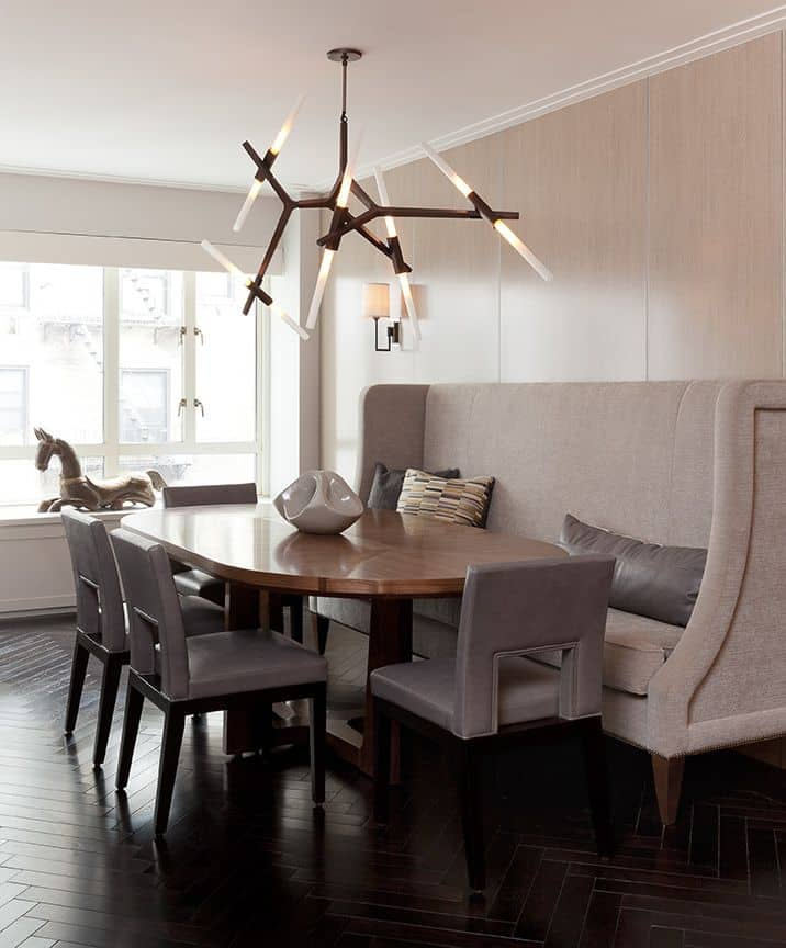 holly hunt chairs modern branched lighting custom bespoke upholstered bench dining room renovation