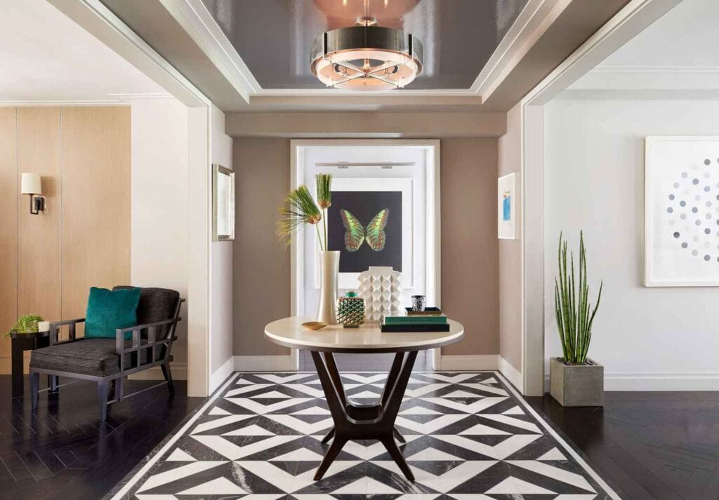 park ave ny bachelor pad renovation modern contemporary art gallery collection entryway bespoke stone floor