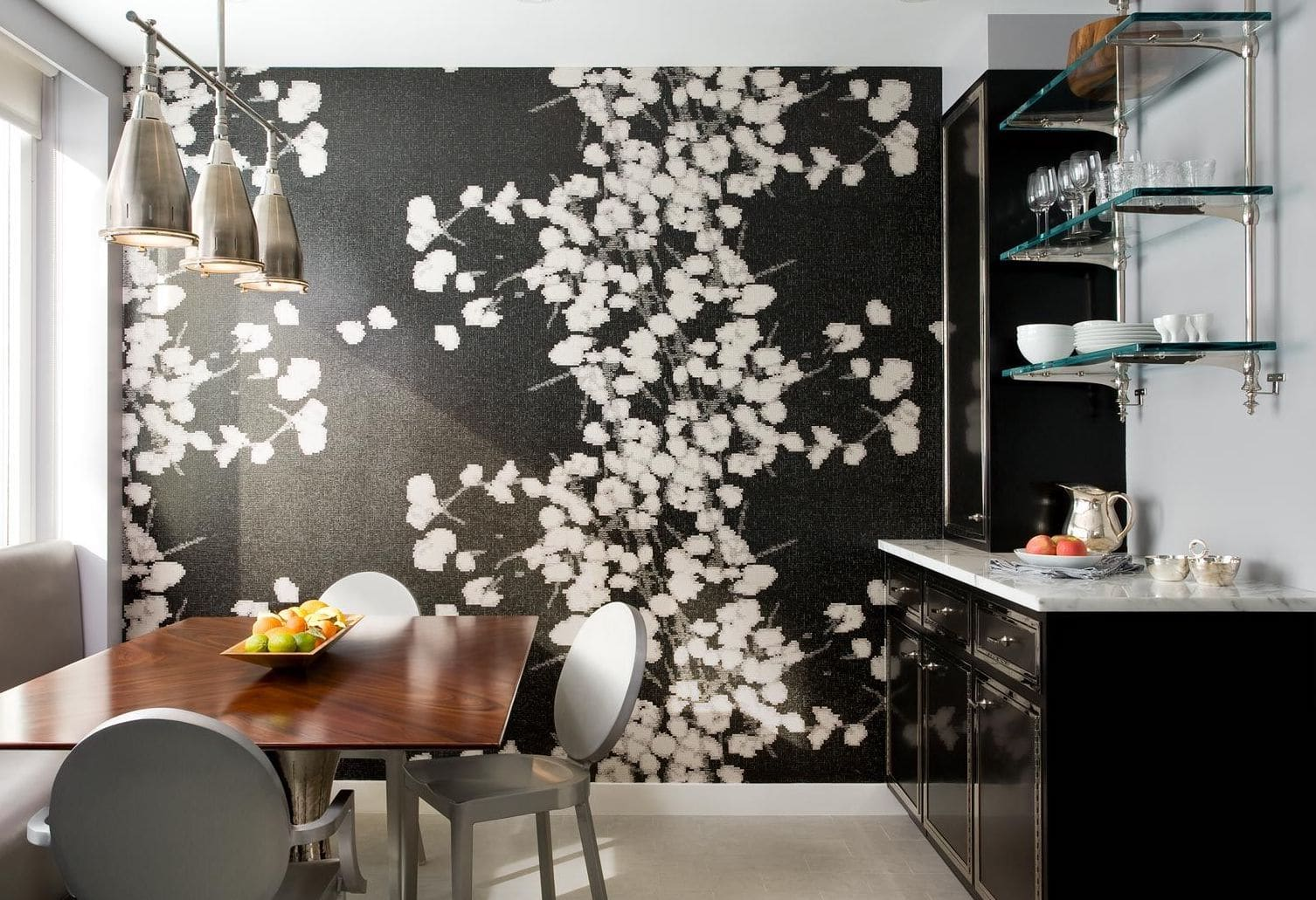 darci hether new york westchester hamptons in-home bar area interior design flower wall mural