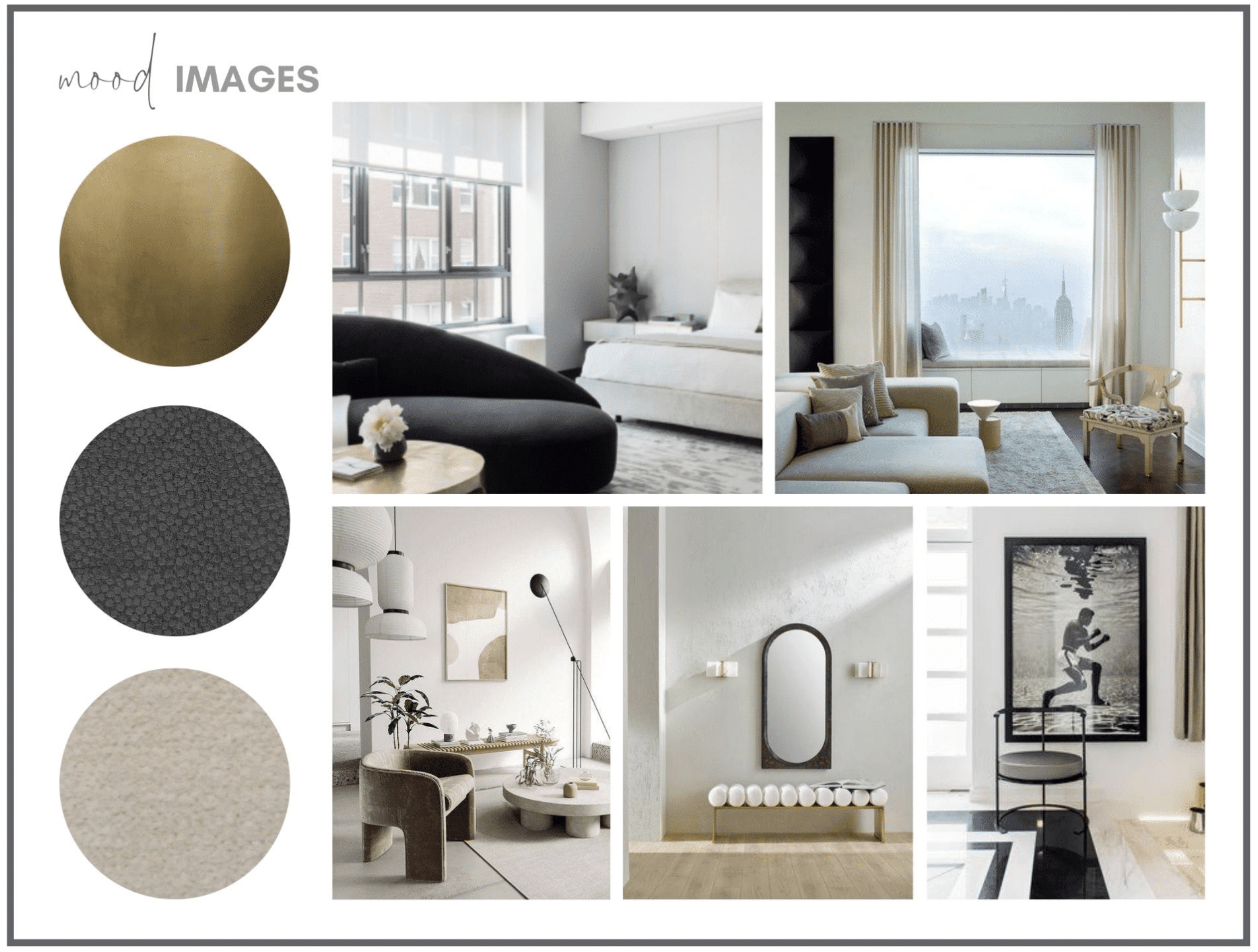 darla hether new york mood board design concept images gold black taupe refined elegant interiors