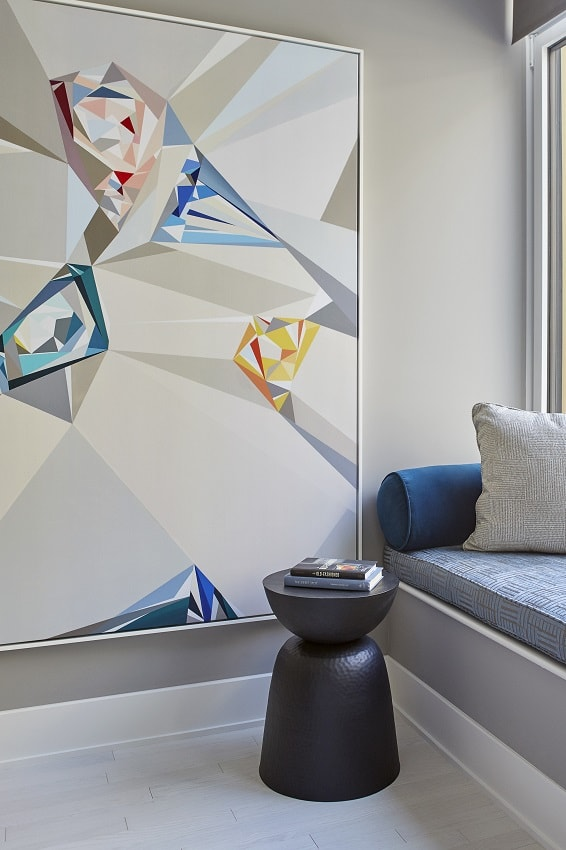modern apartment tribeca abstract art built in banquette custom pillows