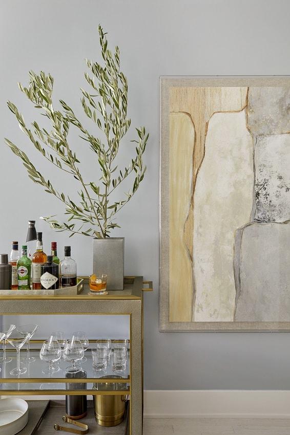 modern bar cart design olive branch wabi-sabi art craft liquors martini glasses tribeca