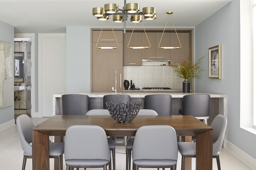 darci hether modern kitchen interior design apartment tribeca dining table chairs lighting