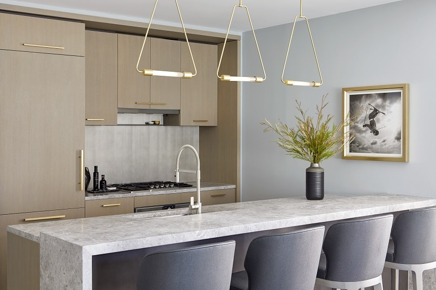 modern kitchen interior design tribeca darci hether new york pendants waterfall counter wood cabinets