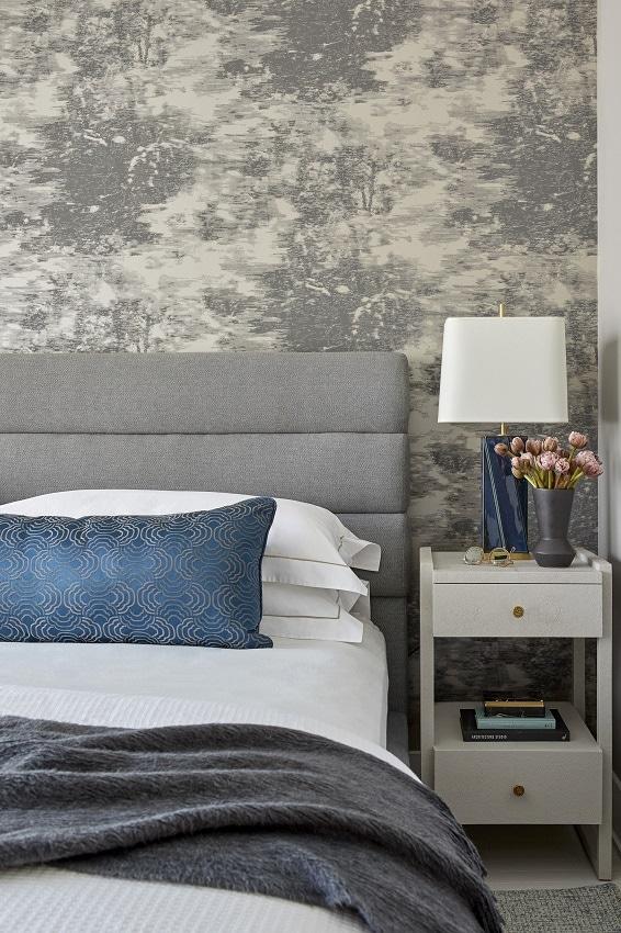 darci hether new york tribeca modern apartment interior design upholstered gray headboard wallpaper blue pillow