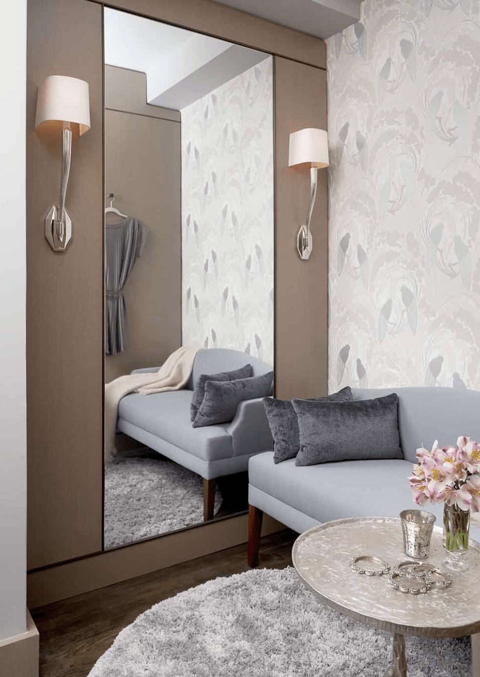 darci hether pied-a-terre upper west side modern classic elegance bespoke wallpaper sconces holly hunt sofa
