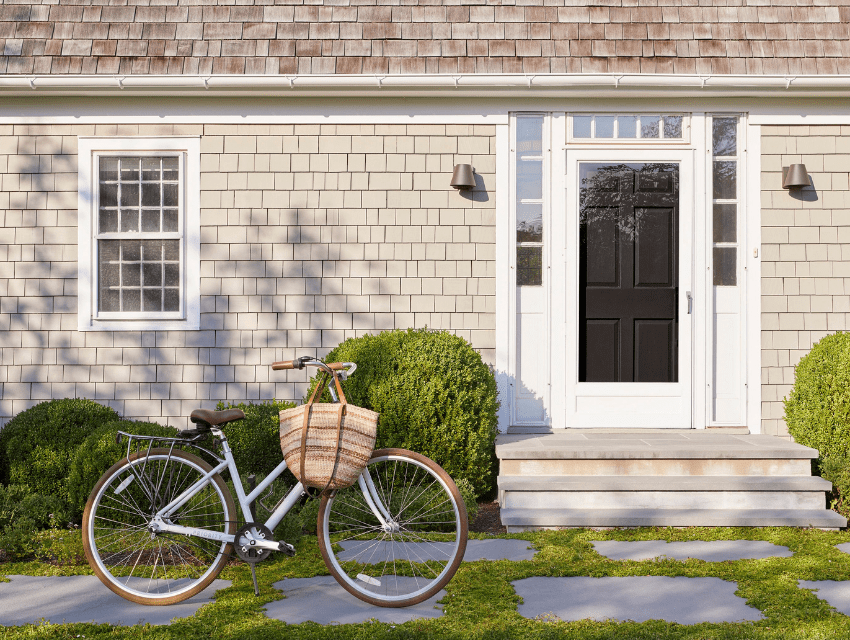 bridgehamptons home black door bike interior design darci hether ny