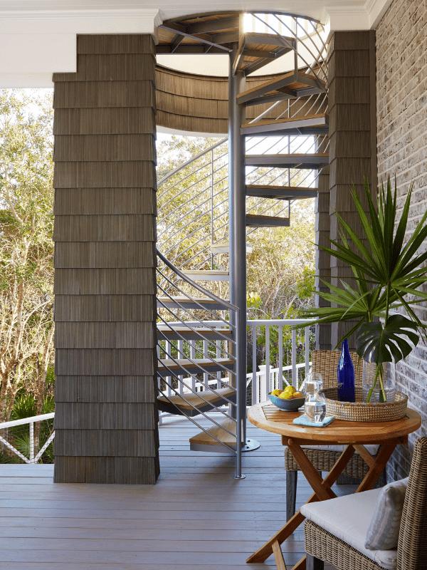 contemporary interior design spiral staircase outdoor patio hamptons