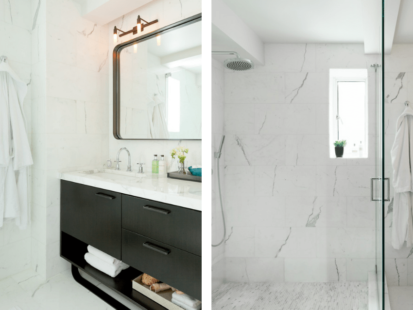 darci-hether-new-york_interior-designer_how-to-use-mixed-metals-to-create-a-luxury-look-in-your-bathroom_side-by-side-of-bachelor-pad-master-bath-with-white-marble-and-mixed-metals