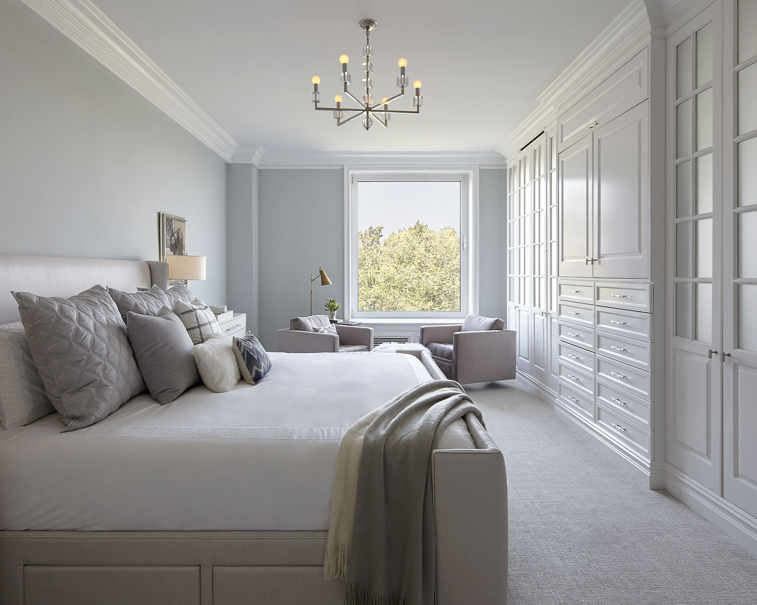 Tranquil and serene master suite interior design by Darci Hether New York